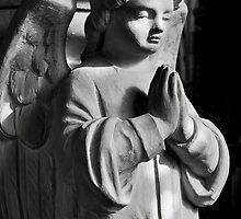 Praying angel greetings card - mono by Dave Lawrance