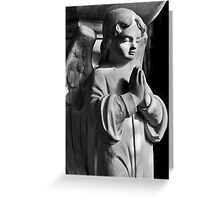 Praying angel greetings card - mono Greeting Card