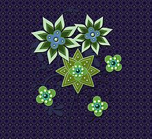 Navy and Green Floral Pattern iPad Case by Cherie Balowski
