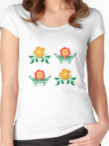 Vector Flower Pattern Women's Fitted Scoop T-Shirt