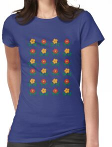Vector Flower Pattern Womens Fitted T-Shirt