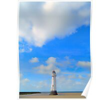 Lighthouse and Summer Skies Poster