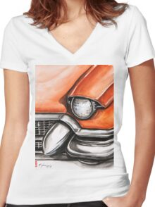Red Cadillac Women's Fitted V-Neck T-Shirt