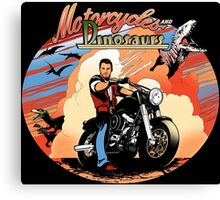 Motorcycles and dinosaurs Canvas Print