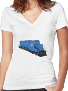 Railroad / Train Engine Women's Fitted V-Neck T-Shirt