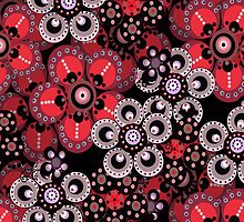 Red, Gray and Black Fantasy Flowers iPad Case by Cherie Balowski