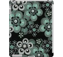 Turquoise, Gray and Black Fantasy Flowers iPad Case iPad Case/Skin