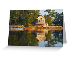 wooden boat with reflection near cottage St. Lawrence River Greeting Card