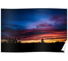 Colorful sunset with dramatic clouds Poster