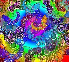 Rainbow Colors Butterflies iPad Case by Cherie Balowski
