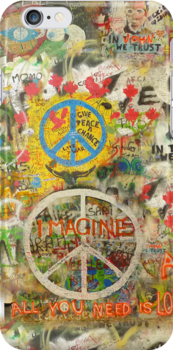 The Beatles iPhone 5 Plastic Case John Lennon Peace Sign 5, 4s, 4, 3gs, 3 Imagine All You Need is Love by Tara Holland
