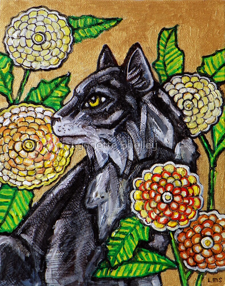 Cat and Chrysanthemums by Lynnette Shelley