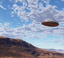 UFO in blue skies by Linda  Schilling
