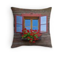 Red Window with Flower Box. Throw Pillow