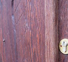 Part of the wooden door brown close-up with brass keyhole by vladromensky