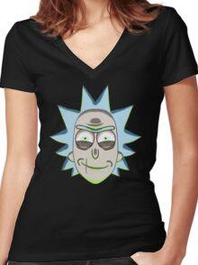 Evil Rick Women's Fitted V-Neck T-Shirt