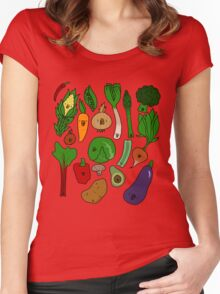 Happy Veggies Women's Fitted Scoop T-Shirt