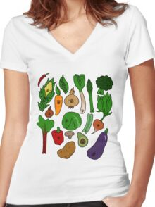 Happy Veggies Women's Fitted V-Neck T-Shirt