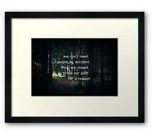 We don't meet people by accident, they are meant to cross our path for a reason. Framed Print