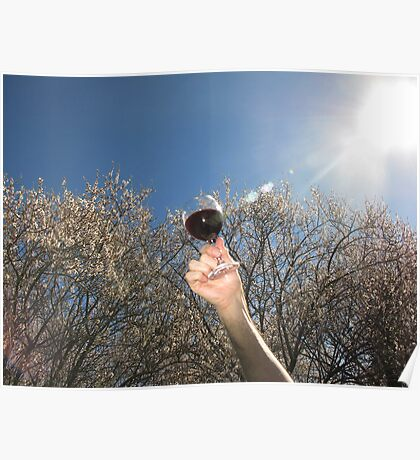 A glass of wine in the orchard Poster