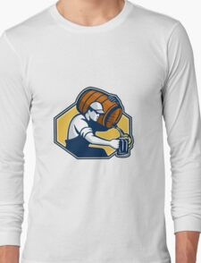 Bartender Worker Pouring Beer From Barrel To Mug Long Sleeve T-Shirt
