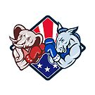 Democrat Donkey Republican Elephant Mascot Boxing  by retrovectors