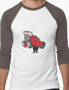 Lawn Mower Man Standing Arms Folded Cartoon  Men's Baseball ¾ T-Shirt