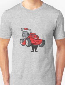Lawn Mower Man Standing Arms Folded Cartoon  T-Shirt
