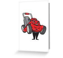Lawn Mower Man Standing Arms Folded Cartoon  Greeting Card