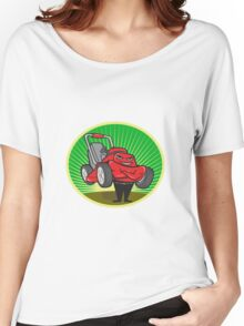 Lawn Mower Man Cartoon Oval  Women's Relaxed Fit T-Shirt