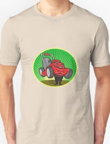 Lawn Mower Man Cartoon Oval  Unisex T-Shirt