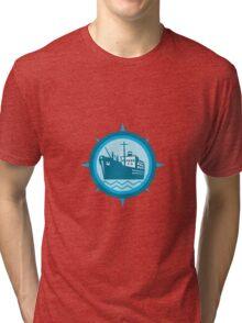 Passenger Ship Cargo Boat Retro  Tri-blend T-Shirt
