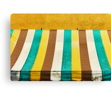 colorful grunge canvas on yellow wall Canvas Print