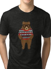 Cute Cuddly Festive Teddy Bear  Tri-blend T-Shirt