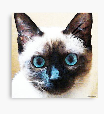 Siamese Cat Art - Black and Tan Canvas Print