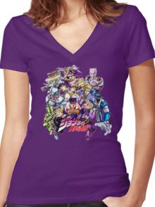 JoJo's Bizarre Adventure: Diamond Is Unbreakable Characters Women's Fitted V-Neck T-Shirt