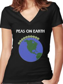 Peas On Earth Women's Fitted V-Neck T-Shirt