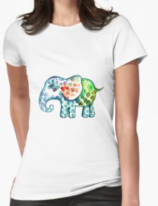 Rainbow Elephant Womens Fitted T-Shirt