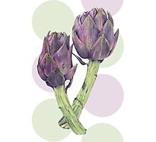 Purple Artichokes Dots Photographic Print