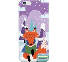 Fox and Books - Purple iPhone Case/Skin
