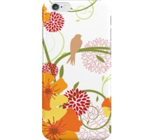 Yellow Hibiscus Swirls and Birds iPhone Case/Skin
