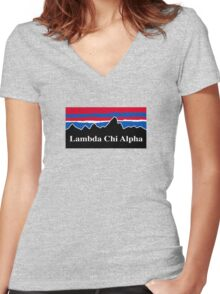 Lambda Chi Alpha Red White and Blue Women's Fitted V-Neck T-Shirt