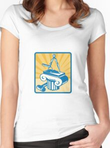 Masonry Trowel Compass Mallet and Column Retro  Women's Fitted Scoop T-Shirt
