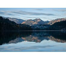 Sunset over Lake Bled Photographic Print
