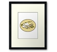 Bread Loaf With Knife and Board Woodcut  Framed Print