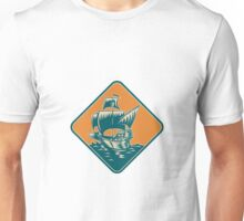 Tall Sailing Ship Retro Woodcut Unisex T-Shirt