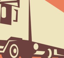 Container Truck and Trailer Flames Retro  Sticker