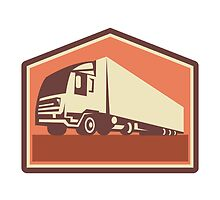 Container Truck and Trailer Flames Retro  by retrovectors