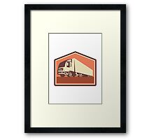 Container Truck and Trailer Flames Retro  Framed Print