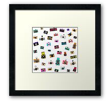 vintage camera pattern Framed Print